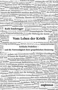 Ruth Sonderegger, Vom Leben der Kritik
